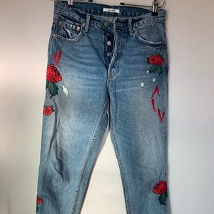 Grlfrnd denim embroidered roses chili peppers 27